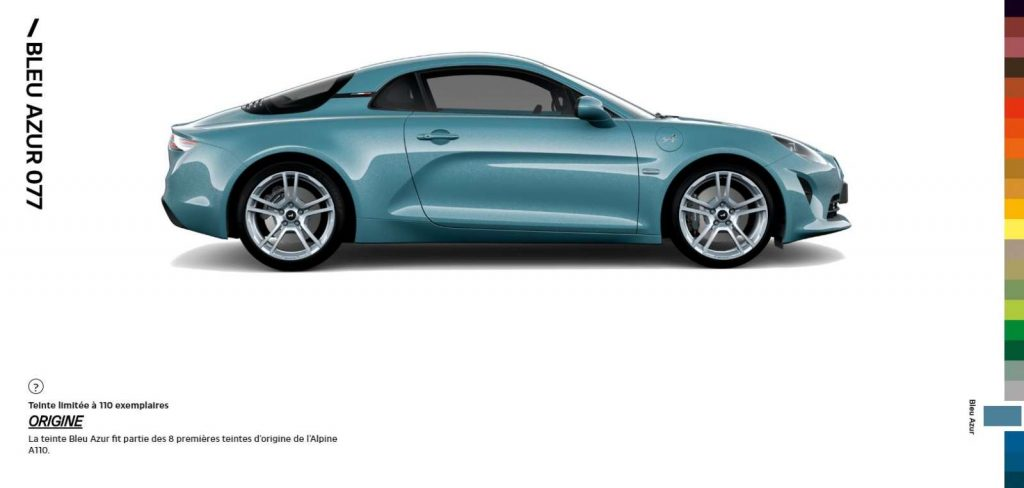Alpine A110 Color Edition Bleu Azur 077