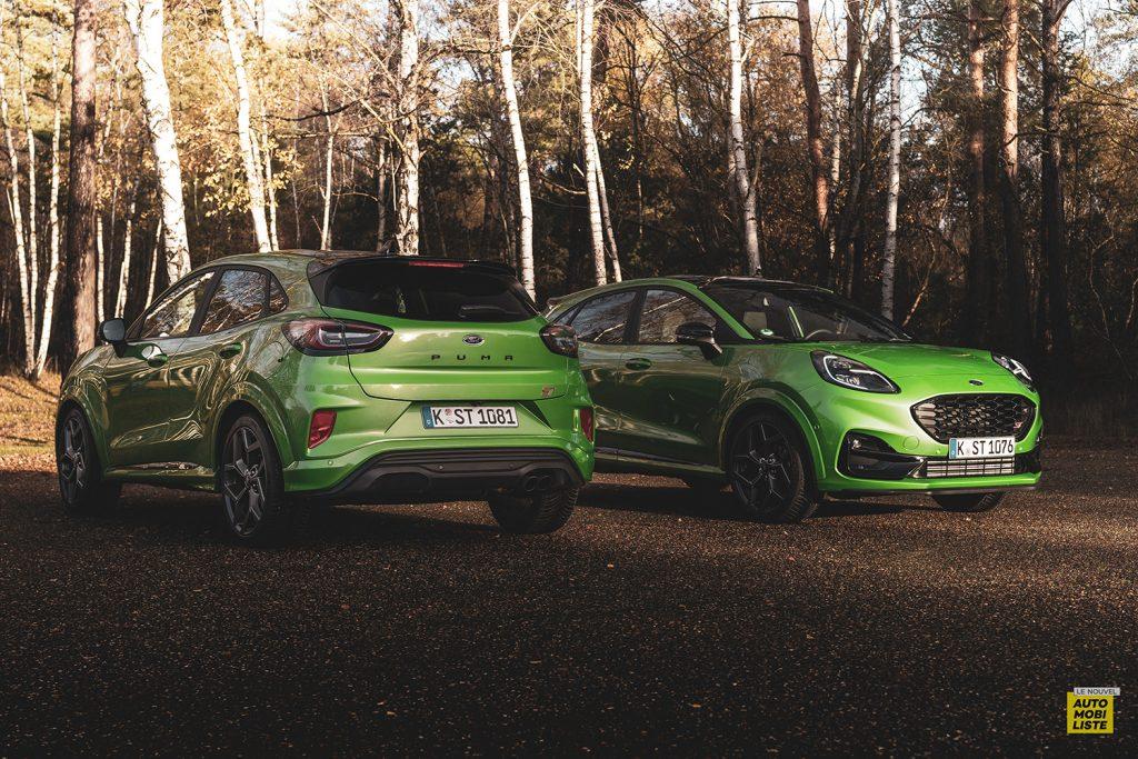 Essai Ford Pumat ST 200ch BV6 Green Mean Face avant face arriere