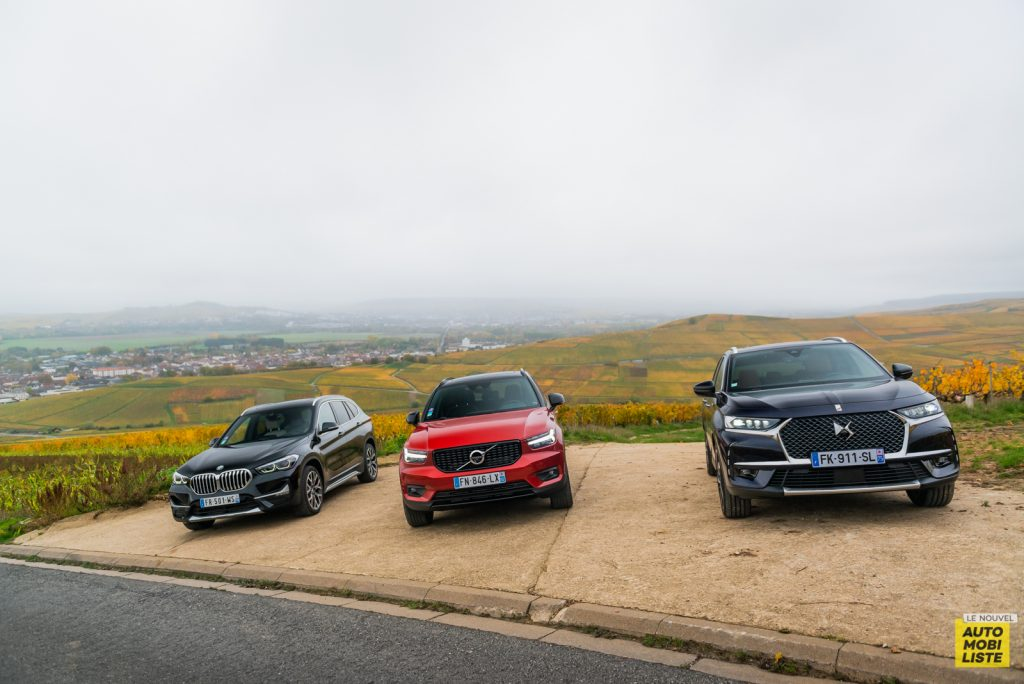 Essai comparatif SUV hybrides rechargeables BMW X1 xDrive25e DS 7 Crossback E-Tense Volvo XC40 T5 Recharge